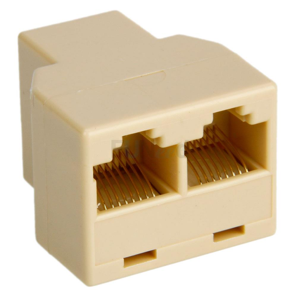 rj45 1x2 ethernet connector splitter 1 to 2 sockets internet cable cat 5 6 nice ebay. Black Bedroom Furniture Sets. Home Design Ideas